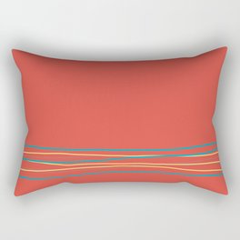Red Aqua Gray Yellow Scribble Line Design Bottom 2021 Color of the Year AI Aqua and Accent Shades Rectangular Pillow