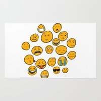 emoji Area & Throw Rugs featuring Emoji Family by Jason Travis