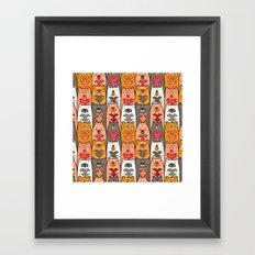 Boho Bear Love Pattern Framed Art Print