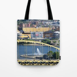 Heinz Field, Fort Pitt bridge and The Point in Pittsburgh Tote Bag