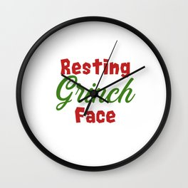Resting Grinch Face - Christmas Xmas festive design Wall Clock