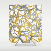 hexagon Shower Curtains featuring Hexagon Marble by NefariousBear