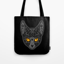 Gray Day of the Dead Sugar Skull Cat Tote Bag