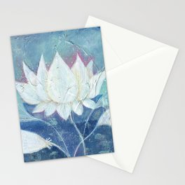 Abstract Lotus Art Acrylic Painting Reproduction by Kimberly Schulz Stationery Cards