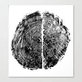 Pinus Strobus: Split Pair in Black on White Canvas Print