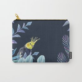 Cockatiel with tropical leaves and dark blue background Carry-All Pouch