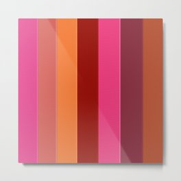 Modern girly pink fashion color block stripes Metal Print