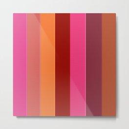 Modern girly pink fashion color block stripes Metal Print