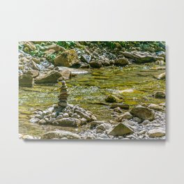 Small Creek with Stones and Rocks Metal Print