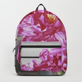 Magenta Peony in Glass Milk Bottle (flowers, pink, peonies, wall art, plants, colorful) Backpack