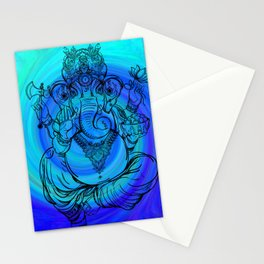 Lord Ganesha on Blue Spiral Stationery Cards
