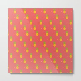 Coral Pineapple Metal Print