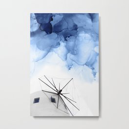 Blue Abstract Painting, Windmill Photography Metal Print
