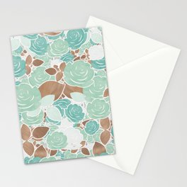 Aqua Mint & Gold Roses Floral Watercolor Pattern Stationery Cards