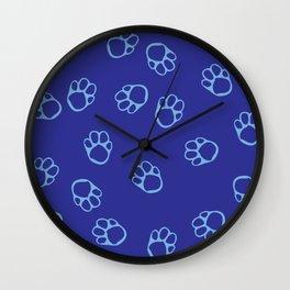 Blue Paw Print Pattern Wall Clock