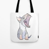 bull terrier Tote Bags featuring Bull terrier by Suzanne Annaars