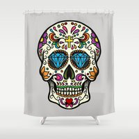 mexican Shower Curtains featuring Mexican Skull by Pancho the Macho