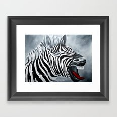 Cheeky Zebra Framed Art Print