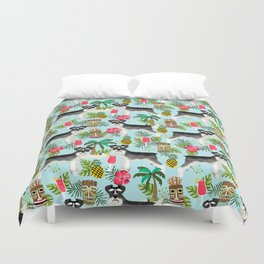 Schnauzer tiki pattern floral hibiscus floral flower pattern palm leaves Duvet Cover
