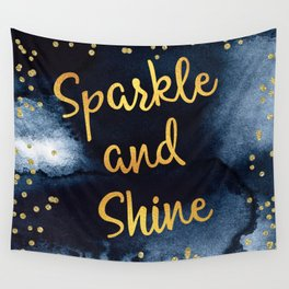 Sparkle And Shine Gold And Black Ink Typography Art Wall Tapestry