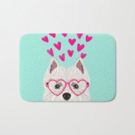 Westie west highland terrier white valentines day dog lover pet valentine Bath Mat