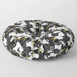 just penguins black white yellow Floor Pillow