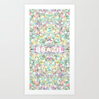 brazil Art Prints featuring BRAZIL by AlekSia