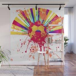 Rainbow rays soccer ball Wall Mural