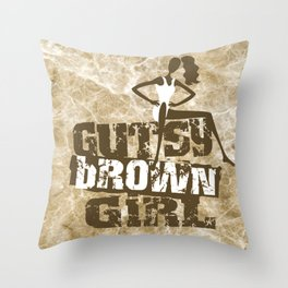 Gutsy Brown Girl Throw Pillow