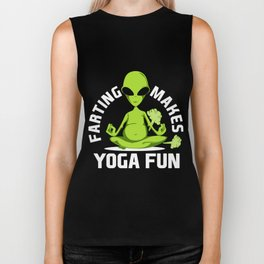 Funny Fart Yoga for Women & Men Breaking Wind Alien Dark Biker Tank