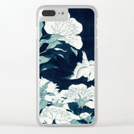 JAPANESE FLOWERS Midnight Blue Teal Clear iPhone Case