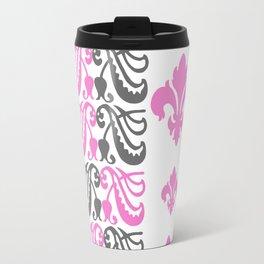 Fluer de Lis Custom Pink Travel Mug