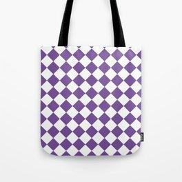 Diamonds - White and Dark Lavender Violet Tote Bag