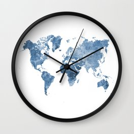 World map in watercolor blue Wall Clock