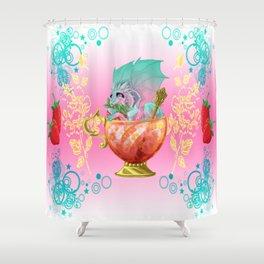Strawberry Iced Tea Dragon Shower Curtain