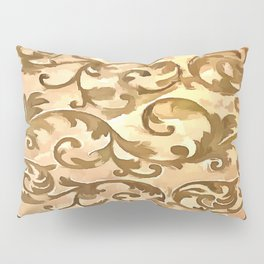 Stylized Foliage Leaves In Gold Pillow Sham