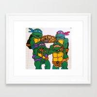 ninja turtles Framed Art Prints featuring Ninja Turtles by Hannah Bolotin
