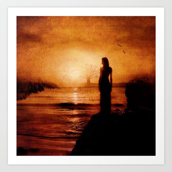 Melancholy in the sunset Art Print