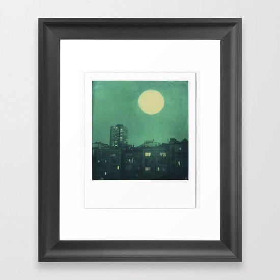 polaroid moon in the city Framed Art Print