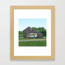 Barn with Cammo Bus Framed Art Print