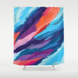 Colorful Brushstroke Digital Painting Shower Curtain
