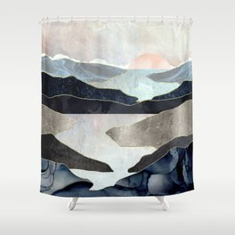 Blue Mountain Lake Shower Curtain