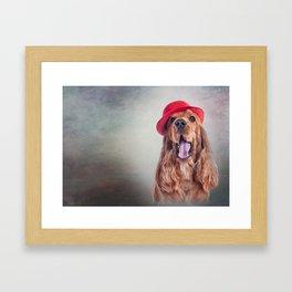 Drawing dog English Cocker Span portrait Framed Art Print