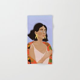 Oceanview Illustration, Tropical Print, Toucan, Portait Illustration, Fashion Illustration Hand & Bath Towel