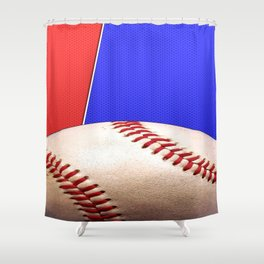Baseball Sports on Blue and Red Shower Curtain