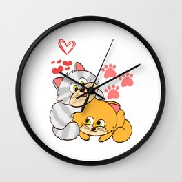"""A Cute Kitty Shirt For Cat Lovers Saying """"I Love Cats"""" Animal Animals T-shirt Design Meow Kitten Paw Wall Clock"""