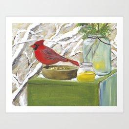 Cardinal Art, Christmas art, Winter painting Art Print