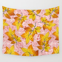 Pink Paisley Autumn Leaves Wall Tapestry