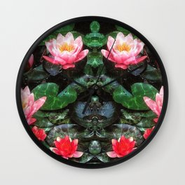 Mirrored Water Lilies Wall Clock