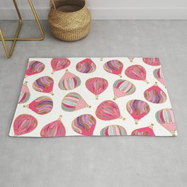 Modern pink colorful watercolor hot air balloons Rug